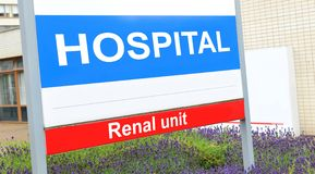 Renal unit. Sign at the hospital stock image