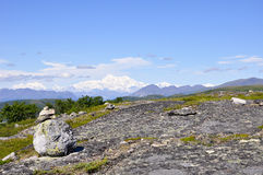 Renamed Denali, the mountain formerly known as Mt. McKinley rises in the distance Stock Photography