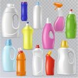 Renande behållare för mellanrum för flaskvektorplast- med detergencyflytande och produkt för modellhushållrengöringsmedel för tvä stock illustrationer