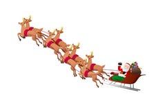 Renar som drar den Santa Claus släden Arkivfoto
