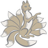 Renard coupé la queue de Kitsune neuf illustration stock