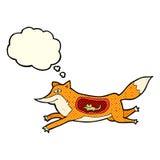 renard de bande dessinée avec la souris dans le ventre avec la bulle de pensée Images libres de droits
