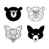 Renard et ours stylisés Animaux de forêt Image libre de droits