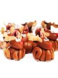 Renas da argila do polímero, decoração do Natal Fotos de Stock