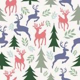Renas e teste padrão sem emenda das árvores de Natal ilustração stock
