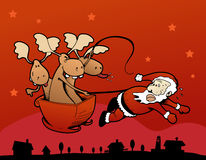 Renas rebelde! Papai Noel que puxa o trenó! Fotografia de Stock