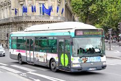 Renault Agora S GNV. PARIS, FRANCE - AUGUST 8, 2014: City bus Renault Agora S GNV at the city street Royalty Free Stock Photo