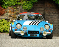 Renault Alpine in front of the castle. Renault Alpine parked in front of the castle Royalty Free Stock Photography