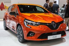 Renault Clio Berline in Automobiel Barcelona 2019 stock fotografie
