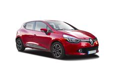 Renault Clio. New red Renault clio isolated on white Royalty Free Stock Photography