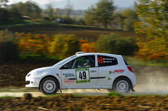 Renault Clio R3 rally car. The Renault Clio R3 driven by Gilberto Palazzi during the 4th edition of Rally Ronde Balcone delle Marche, november 13, 2011 Stock Photo