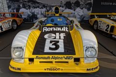 Renault commemorates 40 years of victory. LE MANS, FRANCE, July 7, 2018 : Renault commemorates 40 years of victory during Le Mans Classic on the circuit of the royalty free stock photography