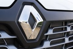 Renault company logo on car. PRAGUE, CZECH REPUBLIC - OCTOBER 25: Renault company logo on car on October 25, 2017 in Prague. Renault beat expectations when sales Royalty Free Stock Photo
