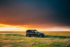 Renault Duster Or Dacia Duster Suv in der Stra?e durch Sommer-Weizen-Feld in erstaunlicher Sonnenuntergang-Zeit Staubtuch gemeins lizenzfreies stockfoto