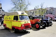 Renault Estafette the assistance of 1960. Photographed the rally of vintage cars Town Hall Square in the town of Ales Royalty Free Stock Photos