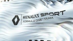 Renault F1 flagga som vinkar på solen Sömlös ögla med högt detaljerad tygtextur Ögla som är klar i upplösning 4k stock video