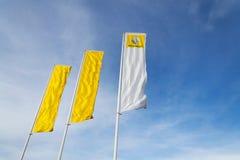 Renault-Firmenlogo auf Verkaufsstellegebäude Lizenzfreies Stockbild