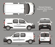 Renault Kangoo Express Maxi Combi Van 2013 Blueprint. Renault Kangoo Express Combi Delivery Van 2013 Isolated in CDR Format Blueprint royalty free illustration