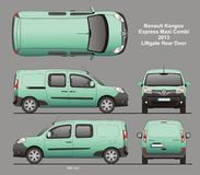 Renault Kangoo Express Maxi Combi Van 2013 Blueprint. Renault Kangoo Express Maxi Combi Delivery Van 2013 Liftgate Rear Door Isolated in CDR Format Blueprint stock illustration
