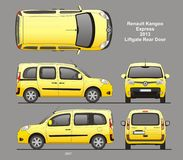 Renault Kangoo Express Passenger Van 2013 Blueprint. Renault Kangoo Express Passenger Van 2013 Liftgate Rear Door Isolated in CDR Format Blueprint royalty free illustration
