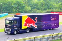Renault Magnum. BUDAPEST, HUNGARY - JULY 27, 2014: Voilet semi-trailer truck Renault Magnum of the Infiniti Red Bull F1 racing team at the Hungaroring Formula Stock Image