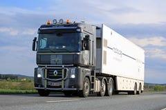 Renault Magnum Transports Mobile MRI Unit Stock Photography