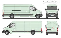 Renault Master Van L4H2 2011. Scale 1:10 stock illustration