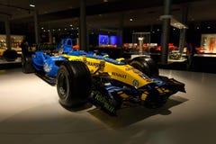 Renault R26 av F1 som Fernando Alonso var världsmästaren med Royaltyfri Foto
