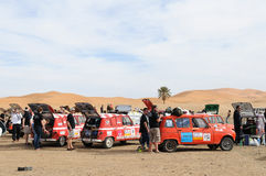 Renault Raid L4 Trophy Morocco 2. French organised rally with old Renauld L4 cars through Morocco. This stop is near the sand dunes in Merzouga. End February Royalty Free Stock Images