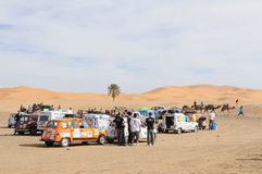 Renault Raid L4 Trophy Morocco 4. French organised rally with old Renauld L4 cars through Morocco. This stop is near the sand dunes in Merzouga. End February Stock Photos