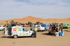 Renault Raid L4 Trophy Morocco 5. French organised rally with old Renauld L4 cars through Morocco. This stop is near the sand dunes in Merzouga. End February Stock Photo