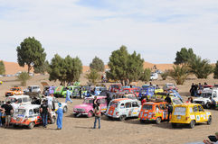 Renault Raid L4 Trophy Morocco 6. French organised rally with old Renauld L4 cars through Morocco. This stop is near the sand dunes in Merzouga. End February Stock Images