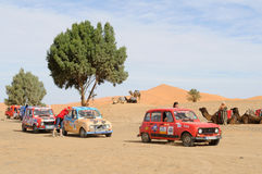 Renault Raid L4 Trophy Morocco 8. French organised rally with old Renauld L4 cars through Morocco. This stop is near the sand dunes in Merzouga. End February Royalty Free Stock Image