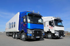 Renault Range T Long Haul Trucks. LIETO, FINLAND - APRIL 5, 2014:  Renault presents blue and white T460 trucks for long haul as part of their new range at Volvo Royalty Free Stock Photo