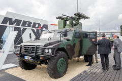 Renault Sherpa 2 (Light Scout). PARIS-LE BOURGET - JUN 18, 2015: Renault Sherpa 2 (Light Scout) with a MBDA missile system at the 51st Stock Image