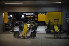 Renault team car in boxes. stock image