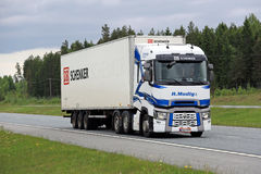 Renault Trucks T Transports Goods on Motorway Royalty Free Stock Photography