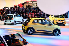 Renault Twingo motor cars. Renault Twingo cars pictured at the Geneva Motor Show in Switzerland, 2014 Royalty Free Stock Images