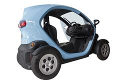 Electric vehicle. A Renault Twizy, a small electric car. isolated on white background Stock Image