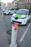 RENAULT ZOE ELECTIC CAR. Copenhagen / Denmark_  06 January 2017 -  Renault Zoe elctric car at recharge e-on booth  from GreenMobilty your city car.   Photo Stock Photos