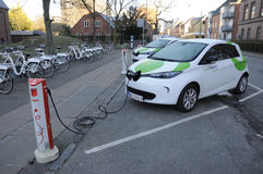 RENAULT ZOE ELECTIC CAR. Copenhagen / Denmark_  06 January 2017 -  Renault Zoe elctric car at recharge e-on booth  from GreenMobilty your city car.   Photo Stock Photo