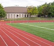 Renbaan, Frank Bailey Field, Unie Universiteit stock afbeelding