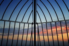 Rence with sunset. Fence with sunset in Vienna Austria Stock Images