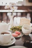Rench breakfast with macarons. In a cafe Royalty Free Stock Photo