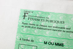 Rench Cheque issued by the Direction Generale des Finances Publi Royalty Free Stock Photography