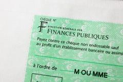 Renchcheque door de Richting die Generale des Finances Publi wordt uitgegeven Royalty-vrije Stock Fotografie