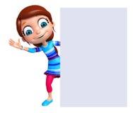 Renda da menina com placa branca Fotos de Stock