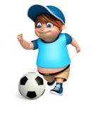 Renda de Little Boy com jogo do futebol Imagens de Stock