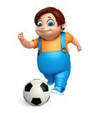 Renda de Little Boy com jogo do futebol Fotos de Stock Royalty Free