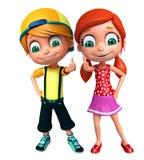 Renda de Little Boy e da menina com placa branca Imagem de Stock